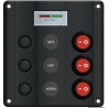 Wave Design control panel with rocker switches and LEDs