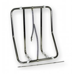 The saddle carries the raft, vertical stainless steel adjustable