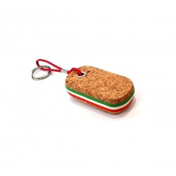 Keychain floating cork oval insert tricolore