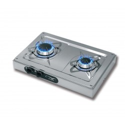 Hob in stainless steel double fire